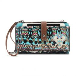 Sakroots Artist Circle Large Smartphone Crossbody Mini Bag-Purse Aqua One World