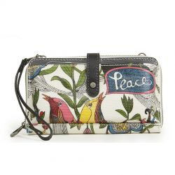 Sakroots Artist Circle Large Smartphone Crossbody Mini Bag-Purse White Peace