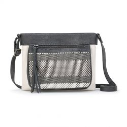 The Sak Sanibel Leather Crossbody Slate Metallic Woven