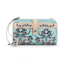 Sakroots Artist Circle Large Smartphone Crossbody Mini Bag-Purse Light Blue Mojave Canyon