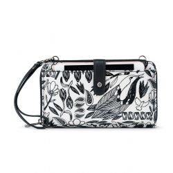 Sakroots Artist Circle Large Smartphone Crossbody Mini Bag - Purse - Black Peace Birds