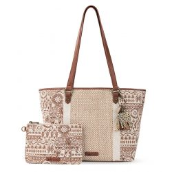 Sakroots Artist Circle Meadow Medium Tote Tobacco Batik World