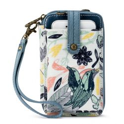 Sakroots Artist Circle N-S Smartphone Crossbody Purse Multi Peace Birds