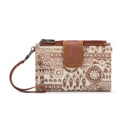 Sakroots Artist Circle Olympic Large Smartphone Crossbody Purse Tobacco Batik World