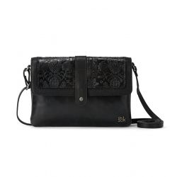 The Sak Loma Leather Crossbody Black Floral Embossed