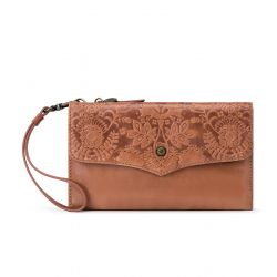 The Sak Ventura Leather Multi Compartment Phone Crossbody Tobacco Floral Embossed