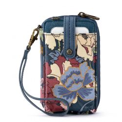 Sakroots Artist Circle N-S Smartphone Crossbody Purse Denim Flower