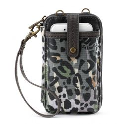 Sakroots Artist Circle N-S Smartphone Crossbody Purse Slate Spotted Wildlife