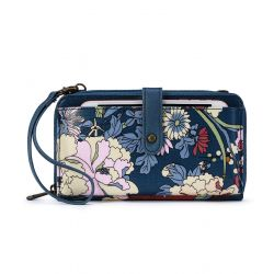 Sakroots Artist Circle Large Smartphone Crossbody Mini Bag - Purse Denim Flower