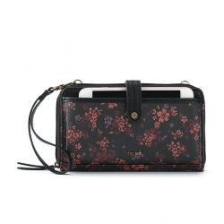 The Sak Iris Folk Large Smartphone Crossbody Mini Bag+Purse Black Folk Floral
