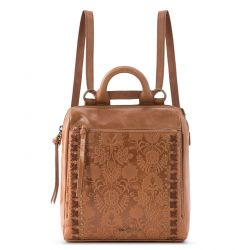The Sak Loyola Leather Convertible Mini Backpack Tobacco Floral Embossed