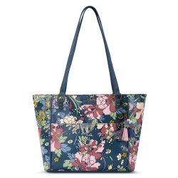 Sakroots Artist Circle Medium Satchel - Denim Flower