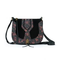 The Sak Playa Leather Saddle Bag Black Folk Floral