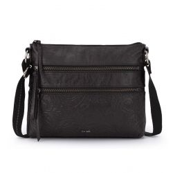 The Sak Reseda Leather Crossbody Black Leaf