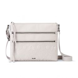 The Sak Reseda Leather Crossbody -Stone Floral Emboss
